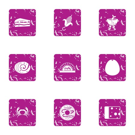 Harvesting food icons set. Grunge set of 9 harvesting food vector icons for web isolated on white background