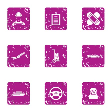 Shipping by air icons set. Grunge set of 9 shipping by air vector icons for web isolated on white background