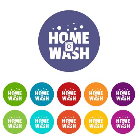 Home wash icons set vector color