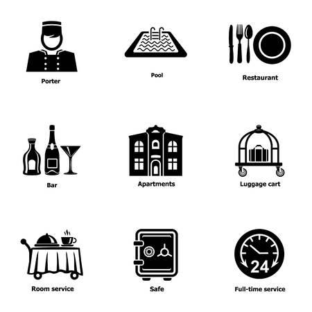 Work hostel icons set. Simple set of 9 work hostel vector icons for web isolated on white background Ilustração