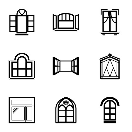 Open window icons set, simple style  イラスト・ベクター素材