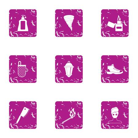 Fountain of youth icons set. Grunge set of 9 fountain of youth vector icons for web isolated on white background