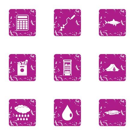 Ice fishing icons set. Grunge set of 9 ice fishing vector icons for web isolated on white background