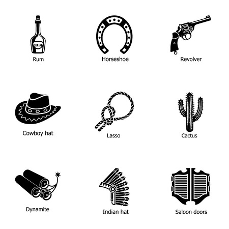 Cowboy land icons set. Simple set of 9 cowboy land vector icons for web isolated on white background