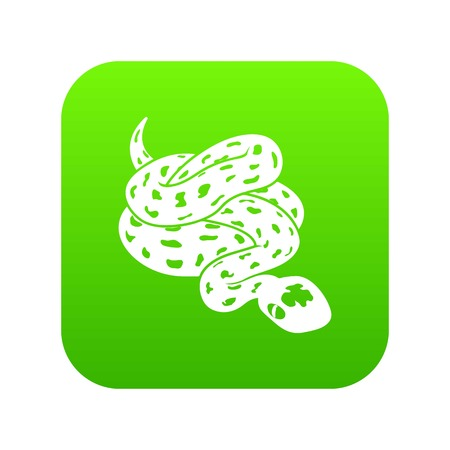 Anaconda snake icon green vector isolated on white background