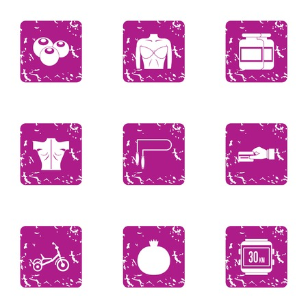 Physiological state icons set. Grunge set of 9 physiological state vector icons for web isolated on white background