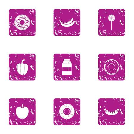 Nutritional icons set. Grunge set of 9 nutritional vector icons for web isolated on white background