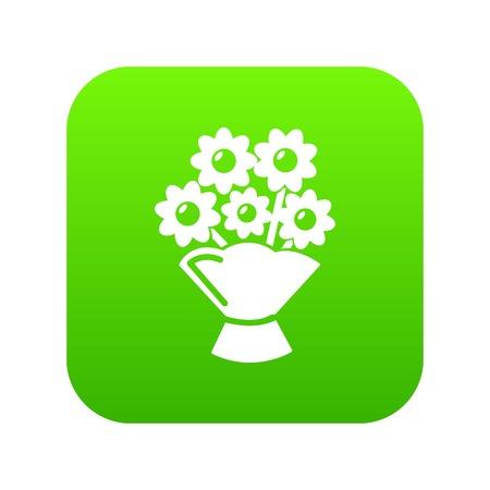 Wedding flower bucket icon green vector isolated on white background Stock Illustratie