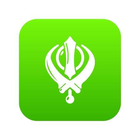 Khanda symbol sikhism religion icon green vector isolated on white background