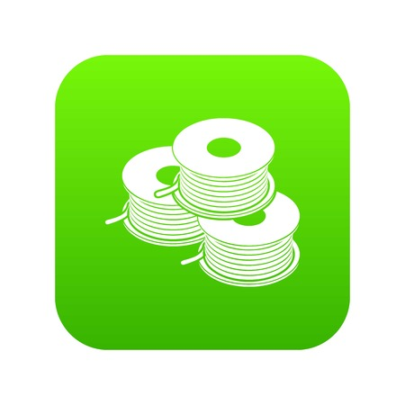 Coil for  printer icon green vector