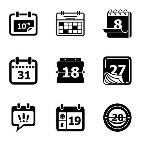 Day planner icons set. Simple set of 9 day planner vector icons for web isolated on white background