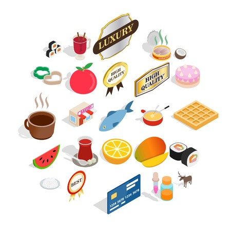 Quality food icons set. Isometric set of 25 quality food vector icons for web isolated on white background