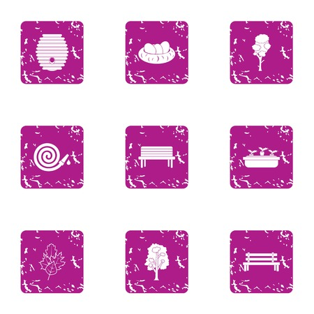 Private park icons set. Grunge set of 9 private park vector icons for web isolated on white background Stock Illustratie