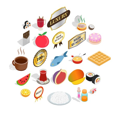 Grocery icons set. Isometric set of 25 grocery vector icons for web isolated on white background
