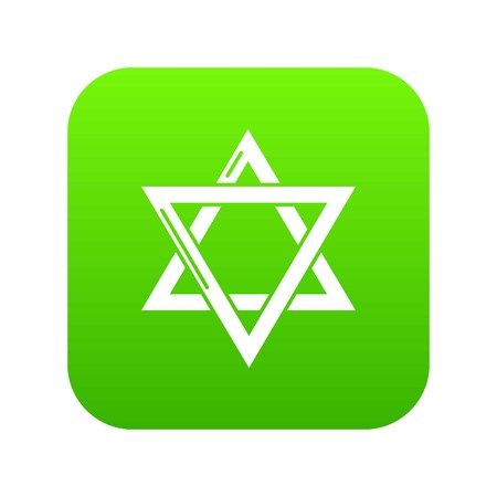 Star david judaism icon green vector Illustration