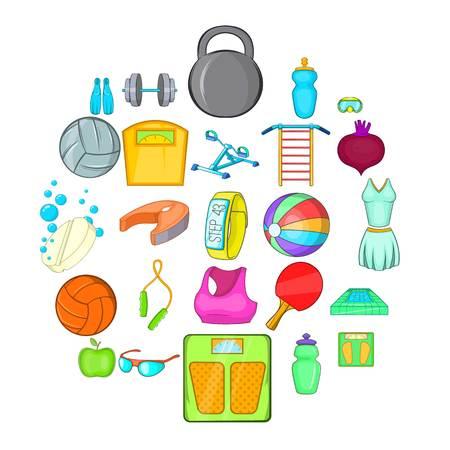 Gymnasium icons set. Cartoon set of 25 gymnasium vector icons for web isolated on white background 向量圖像