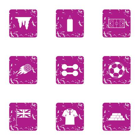 Fierce training icons set. Grunge set of 9 fierce training vector icons for web isolated on white background Çizim