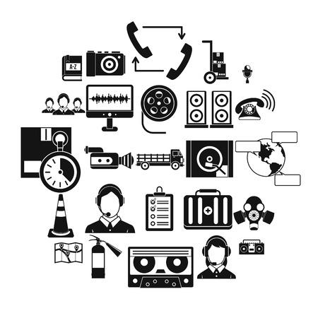 Symbole für drahtlose Kopfhörer festgelegt. Einfacher Satz von 25 drahtlosen Kopfhörervektorikonen für das Netz lokalisiert auf weißem Hintergrund