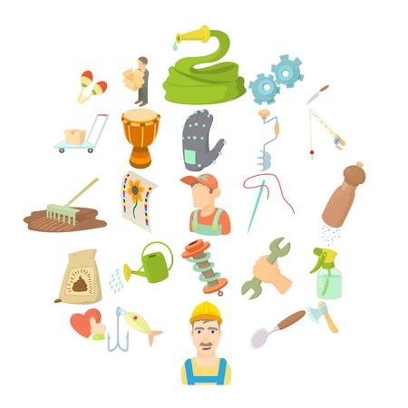 Ambachtelijke pictogrammen instellen. Cartoon set van 25 ambachtelijke vector iconen voor web geïsoleerd op een witte achtergrond