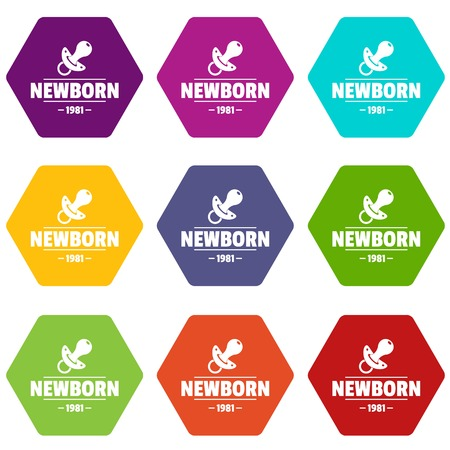 Newborn pacifier icons set 9 vector Illustration