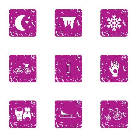 Night training icons set. Grunge set of 9 night training vector icons for web isolated on white background