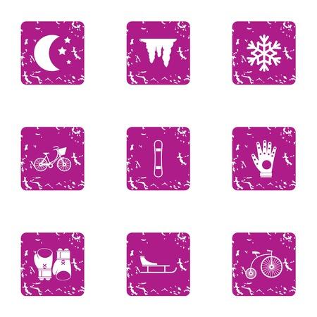 Night training icons set. Grunge set of 9 night training vector icons for web isolated on white background