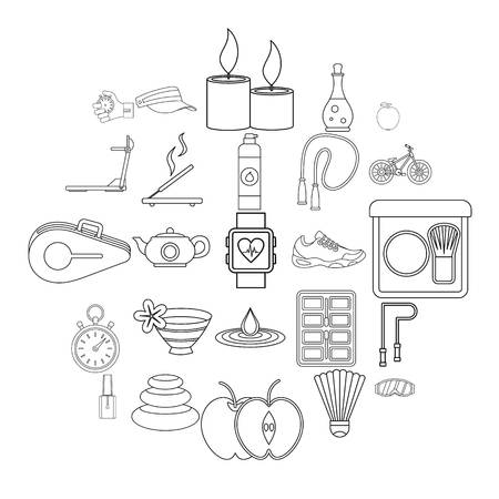 Well-being icons set. Outline set of 25 well-being vector icons for web isolated on white background Stock Illustratie