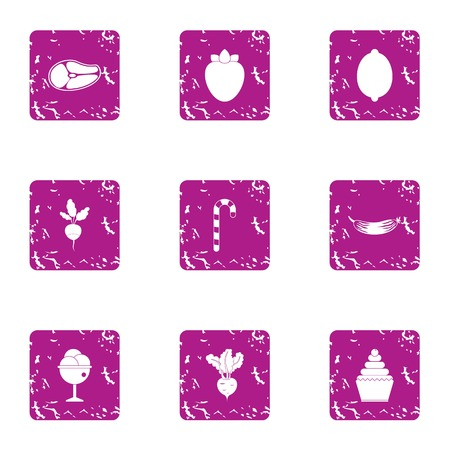 Entremets icons set. Grunge set of 9 entremets vector icons for web isolated on white background 写真素材 - 130235299