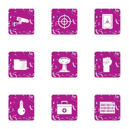 Explosion of thought icons set. Grunge set of 9 explosion of thought vector icons for web isolated on white background