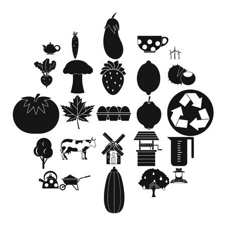 Grown food icons set. Simple set of 25 grown food vector icons for web isolated on white background Stock Illustratie