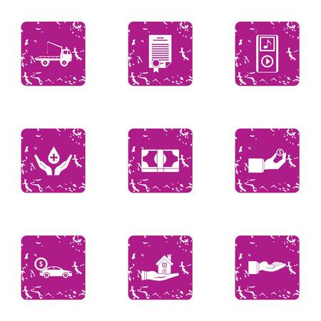 Belay icons set. Grunge set of 9 belay vector icons for web isolated on white background