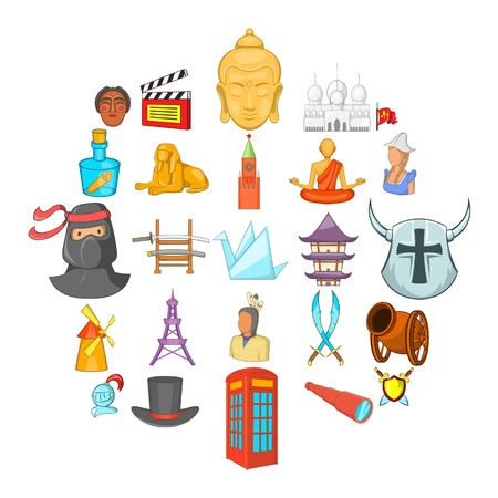 Story icons set. Cartoon set of 25 story vector icons for web isolated on white background