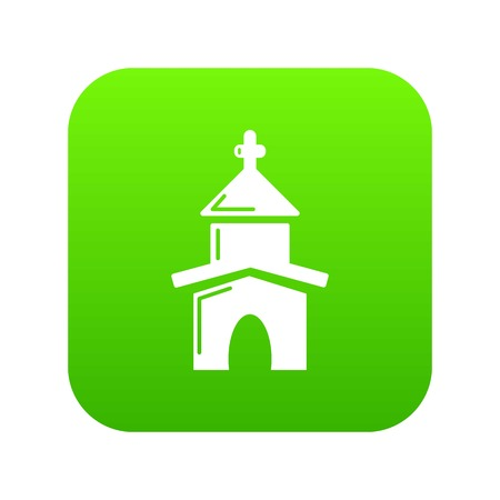 Church icon green vector isolated on white background