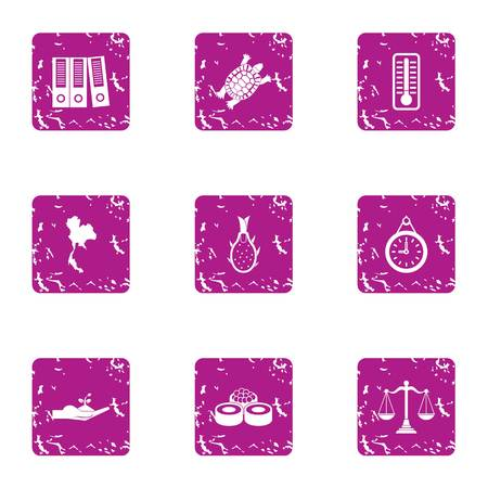 Restaurant accounting icons set. Grunge set of 9 restaurant accounting vector icons for web isolated on white background Illustration