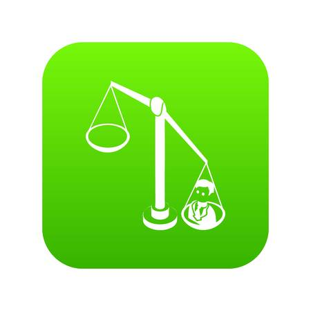 Balance election icon green vector isolated on white background