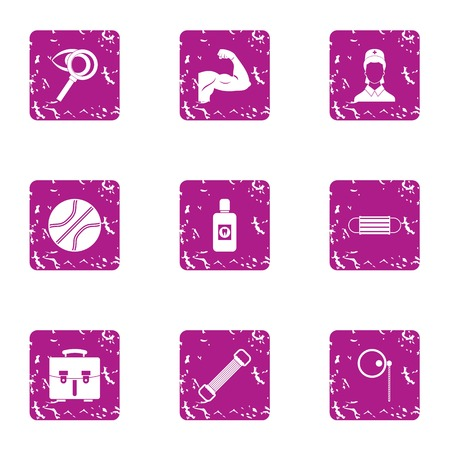 Powerful man icons set. Grunge set of 9 powerful man vector icons for web isolated on white background