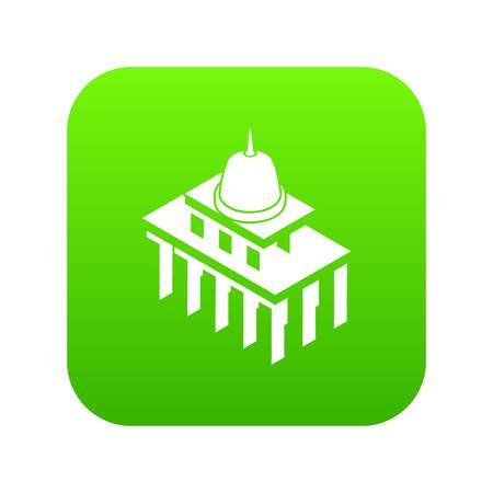 White house usa icon green vector isolated on white background