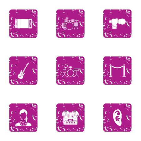 Gang icons set. Grunge set of 9 gang vector icons for web isolated on white background