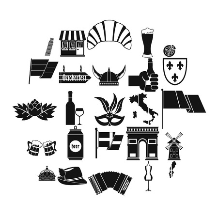 Old Europe icons set. Simple set of 25 old europe vector icons for web isolated on white background  イラスト・ベクター素材