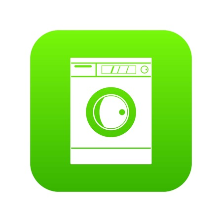 Washing machine icon digital green Illustration