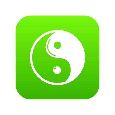 Yin yang icon green vector