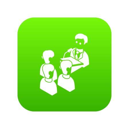 Election speak conference icon green vector isolated on white background Ilustração