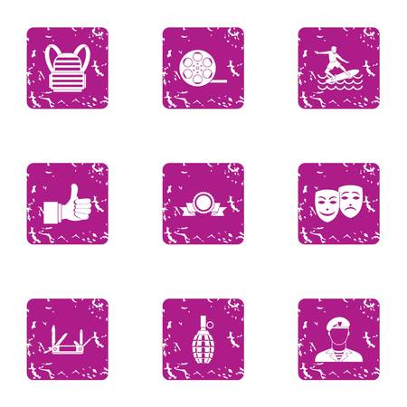 Coaching icons set. Grunge set of 9 coaching vector icons for web isolated on white background Illustration