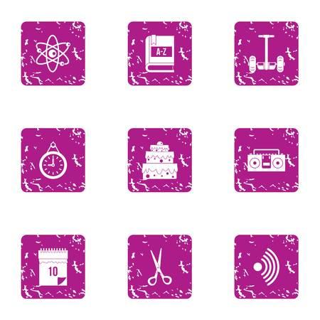 Wedding sentiment icons set. Grunge set of 9 wedding sentiment vector icons for web isolated on white background