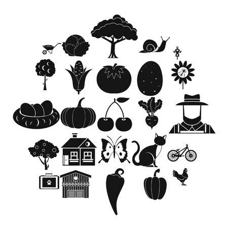 Ensemble d'icônes de grenier. Ensemble simple de 25 icônes vectorielles de grenier pour le web isolé sur fond blanc