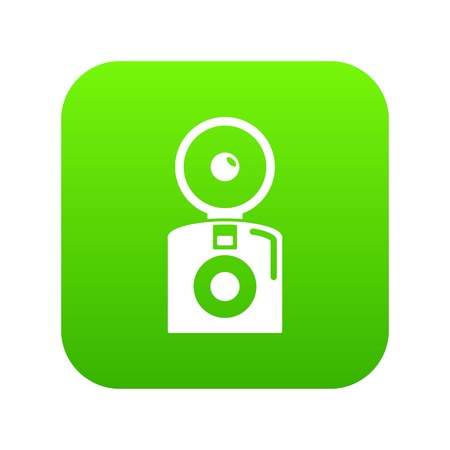 Oldschool camera icon green vector isolated on white background
