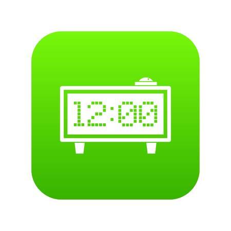 Alarm clock icon digital green