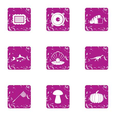 Fish dinner icons set. Grunge set of 9 fish dinner vector icons for web isolated on white background