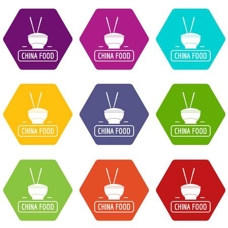 China food icons set 9 vector