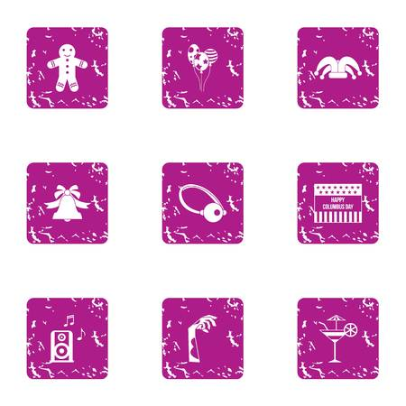 Halloween party icons set. Grunge set of 9 halloween party vector icons for web isolated on white background
